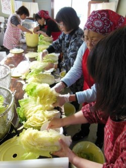 白菜に白菜漬けの素と食塩を擦り込ませるように塗る